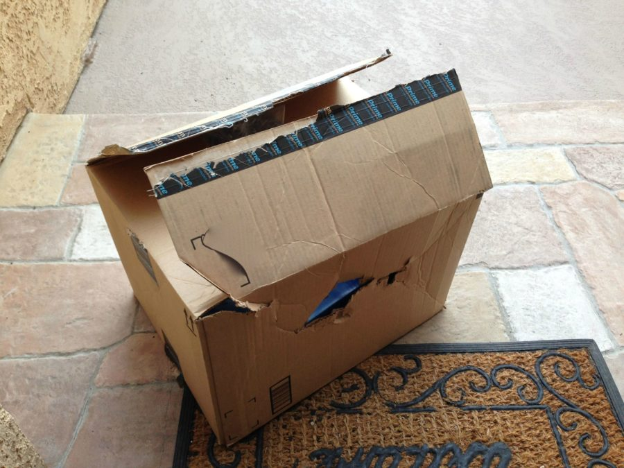 Broken package received via an e-commerce transaction.